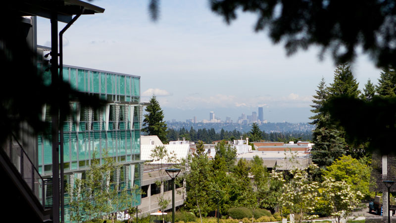 View of BC campus looking over Seattle skyline